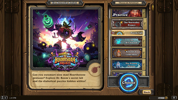 Скриншот из игры Hearthstone: The Boomsday Project