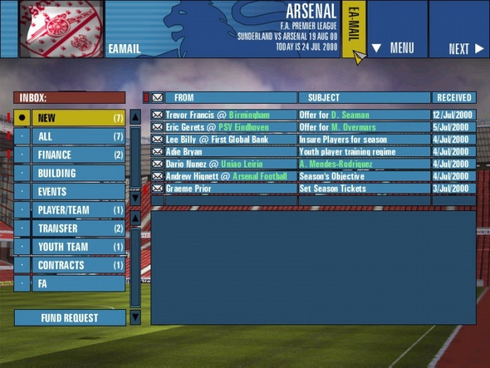 Скриншот из игры F.A. Premier League Football Manager 2001
