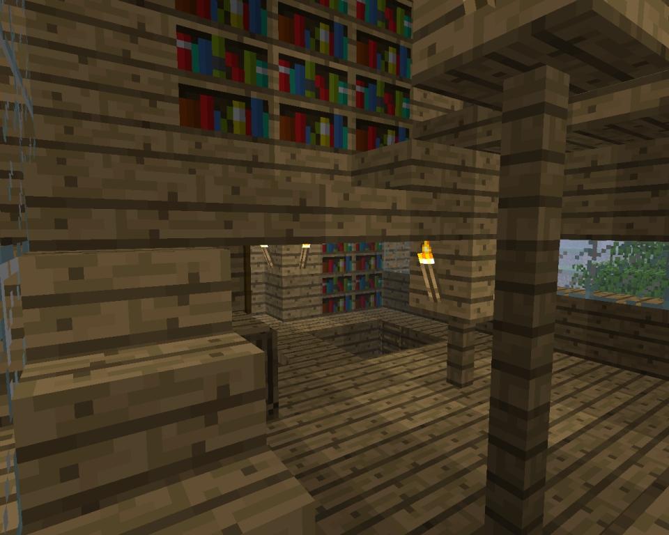 Домик в МайнКрафте - Разные постройки - Изнутри.  Второй этаж.  Открыть Домик в МайнКрафте в реальном размере.